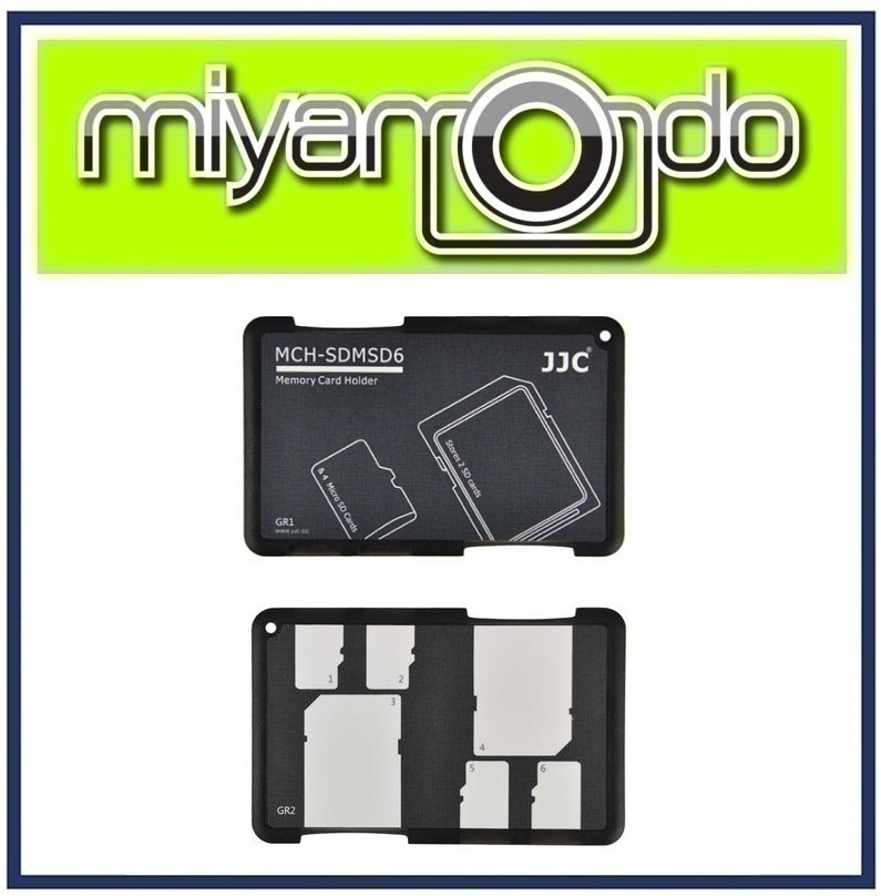 JJC MCH-SDMSD6GR Memory Card Holder Case (Fits 4 x Micro SD + 2 x SD)