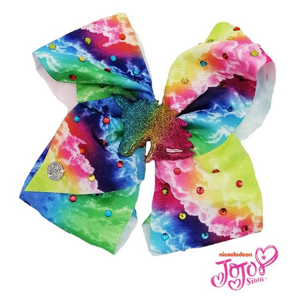 d361bddea8 JOJO SIWA BOW WITH CLIP (RAINBOW CLOUD RHINESTONE)