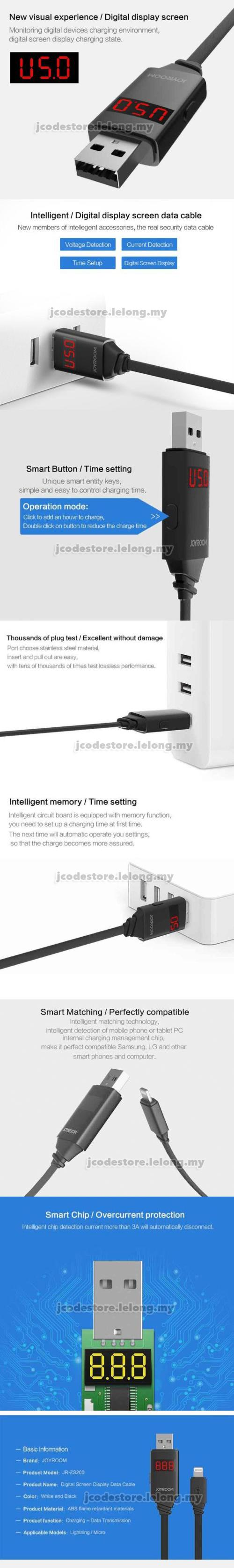 Joyroom JR-ZS200 Intelligent Data Cable LED Display Lightning / Micro