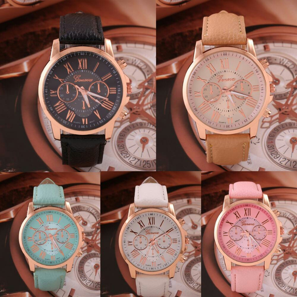 JS Geneva Women Leather Quartz Watch