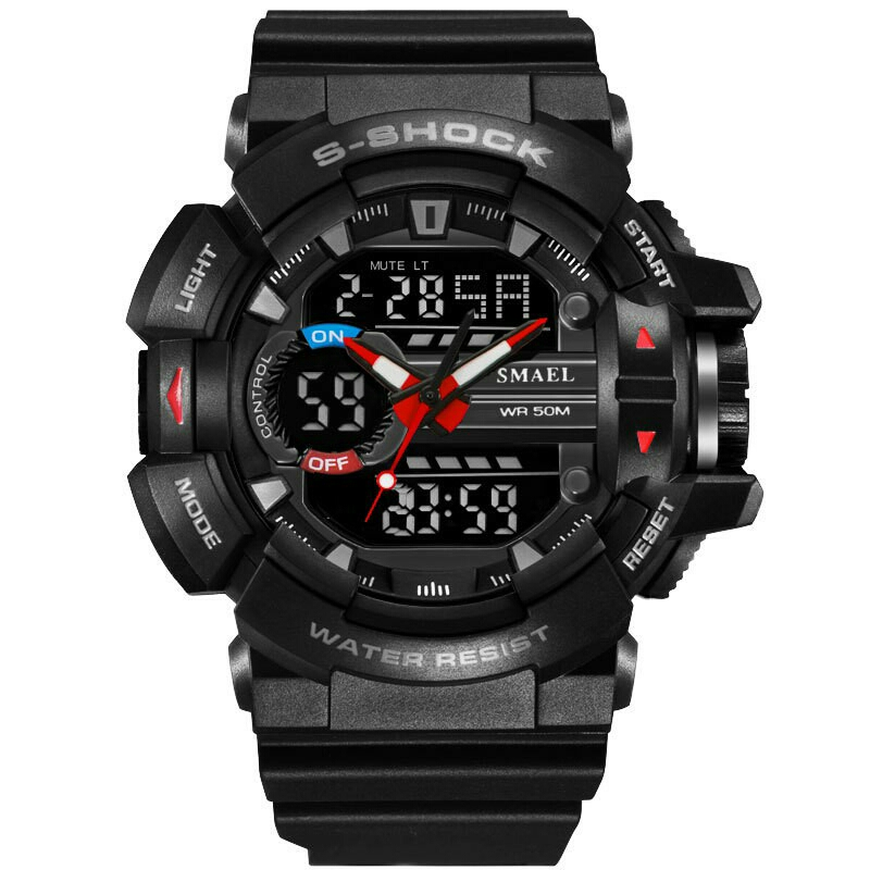JS SMAEL Men Fashion Outdoor Dual Time Water Resistant Digital Watch 3883592901