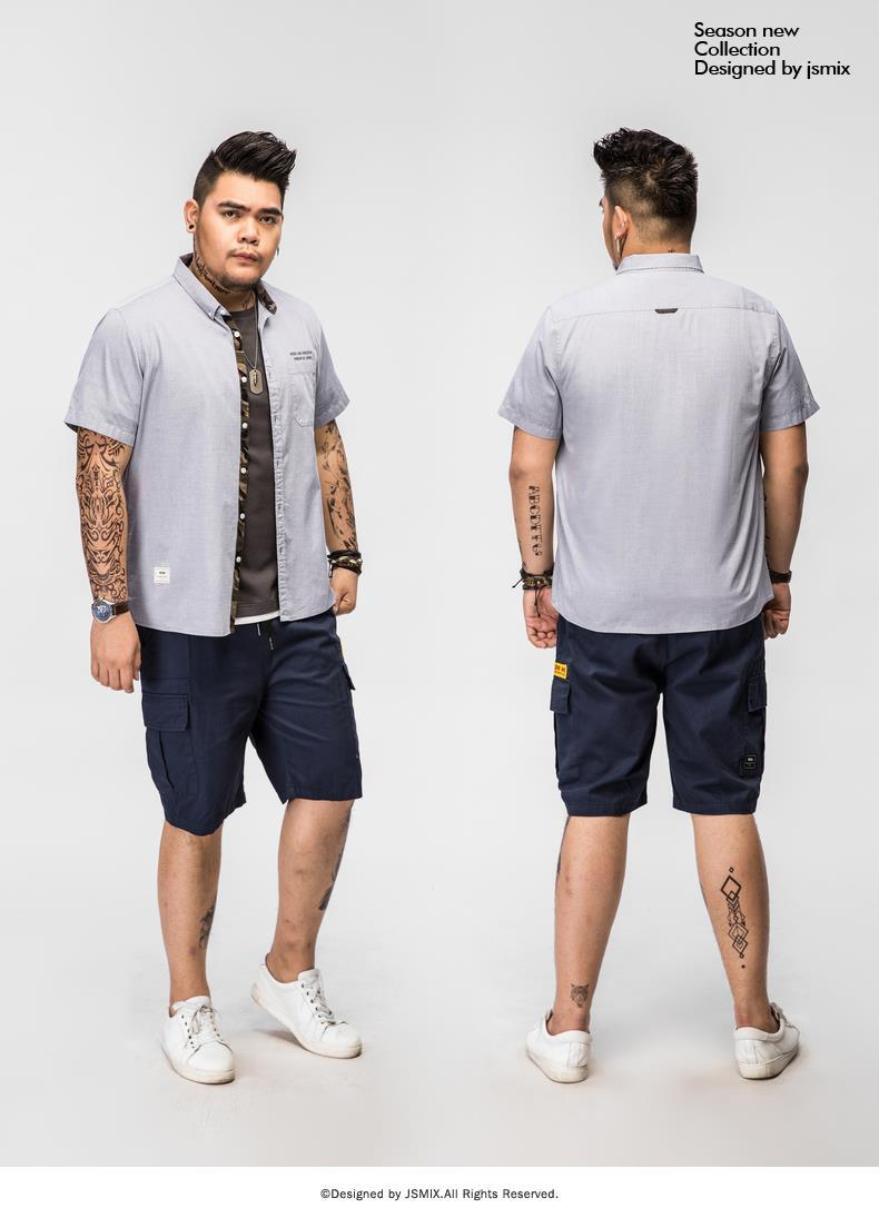 f8aa70e10ca0 JSMIX Men s Plus Size(3XL~7XL) Casual Grey Short Sleeve Shirt 82JC0958