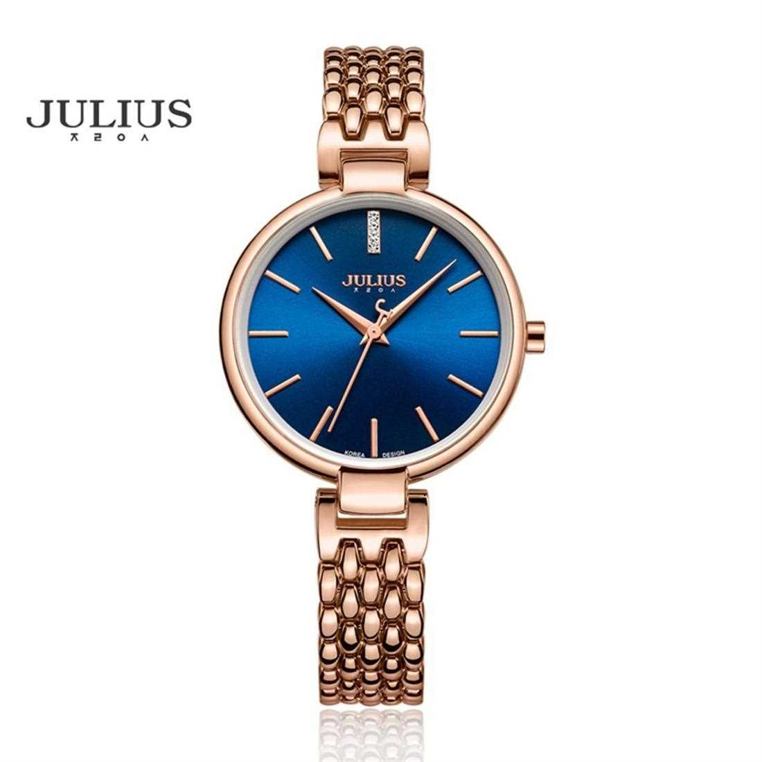 JULIUS Round Dial Luxury Women's Watch Charms Rhinestone ( Blue )