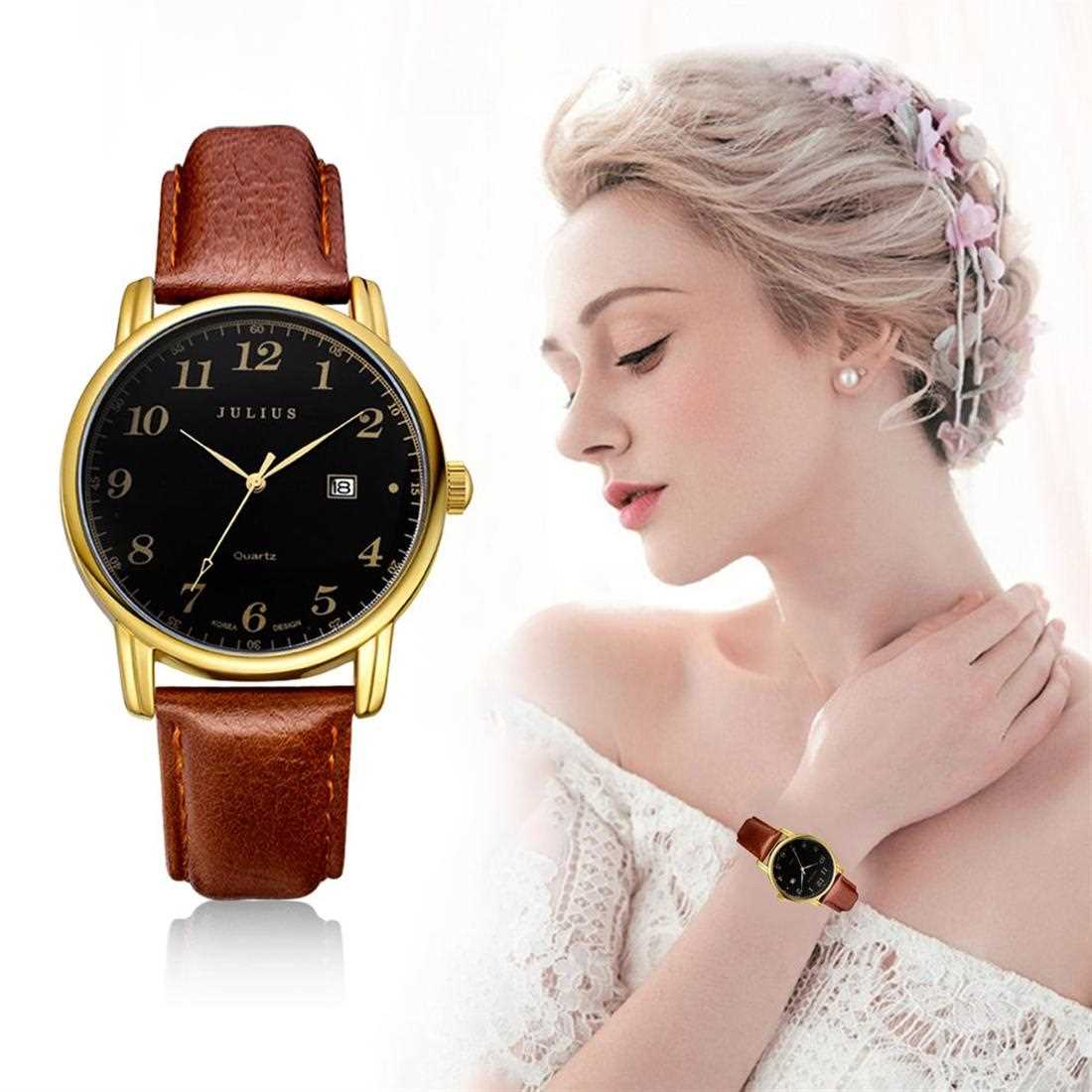 JULIUS JA-508 Fashion Quartz Watch Leather Strap ( Black Gold )