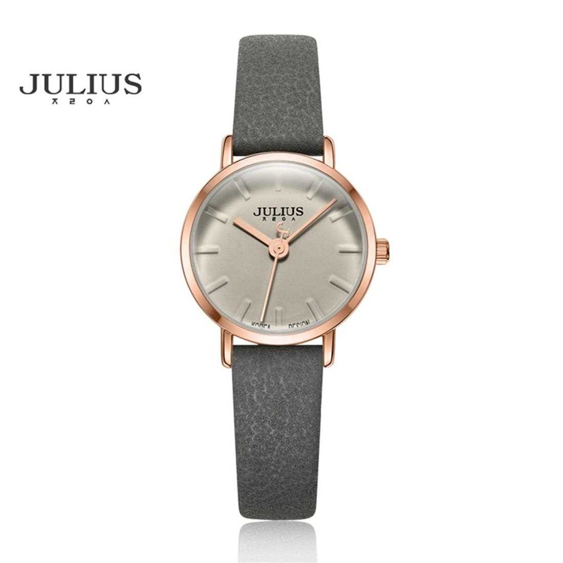 JULIUS Luxury Slim Cow Leather Women's Watch ( Rose Gold Grey )