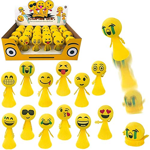 Jumping Emoji Popper Spring Launchers Toy Bouncy Ball Party Favors Supplies (2