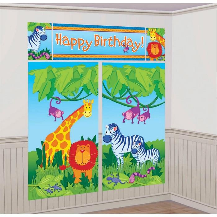 Jungle Animal Scene Setter Happy Birthday 6ft FREE GLUE DOTS