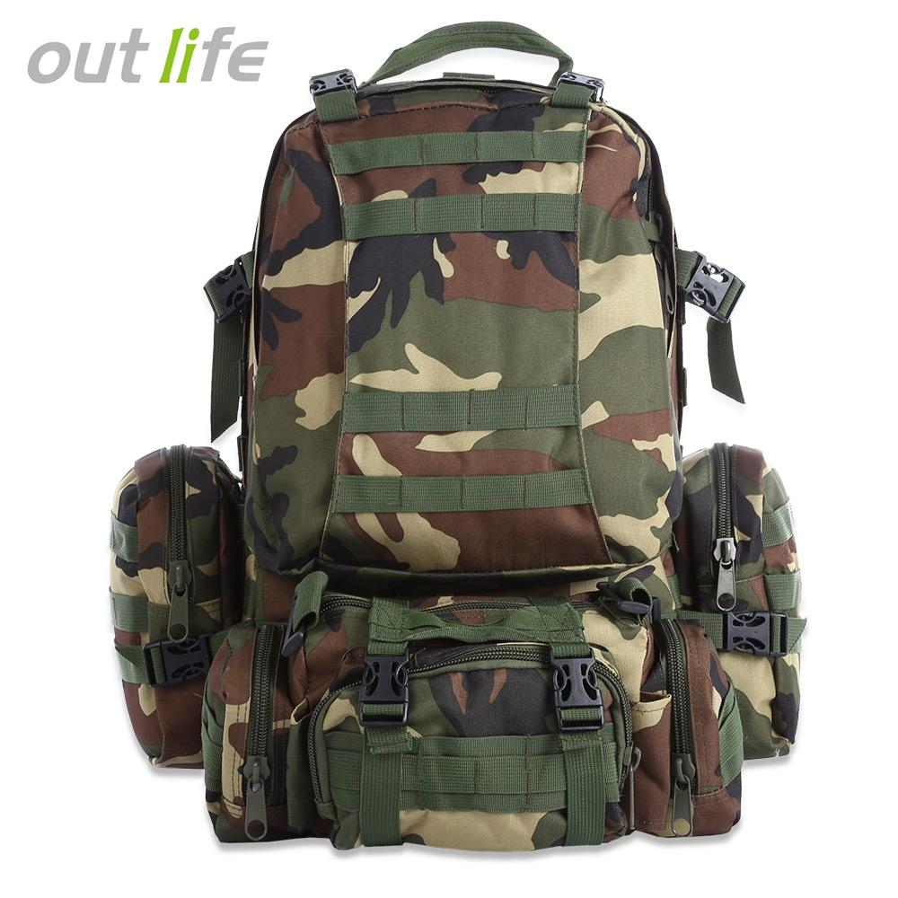 JUNGLE CAMOUFLAGE Outlife 50L Multifunction Molle Camouflage Backpack ..