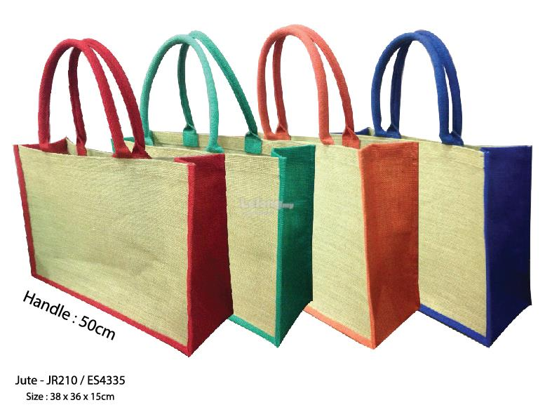 Jute bags coloured handle custom prints shopping