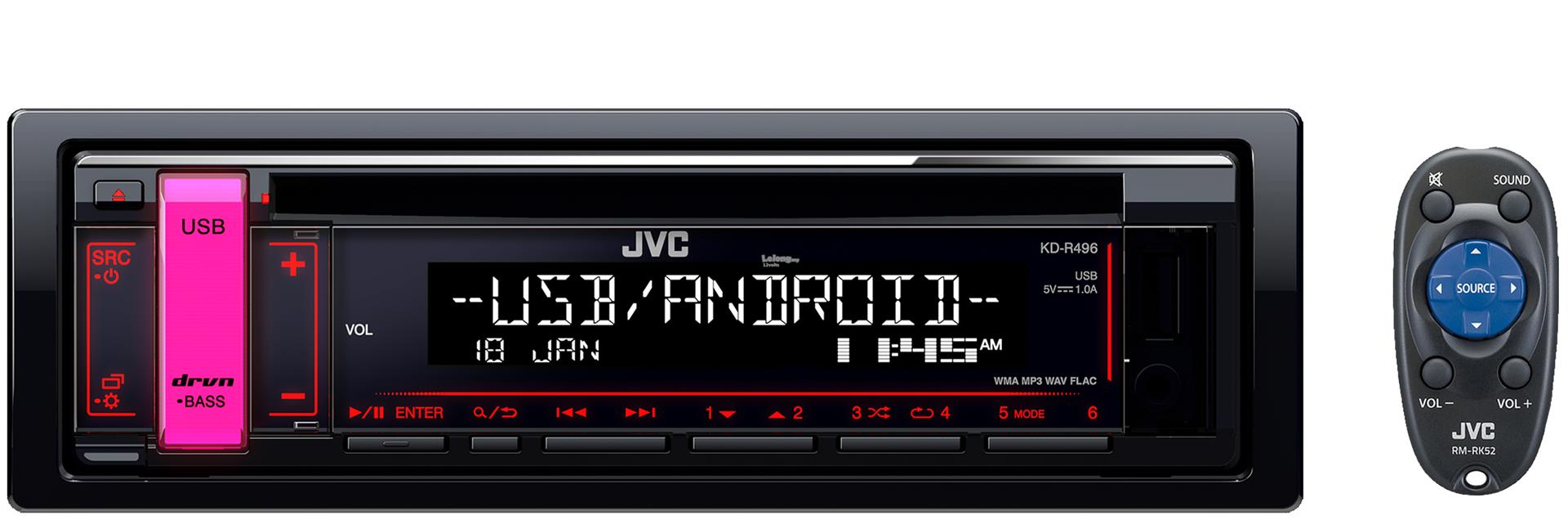 JVC KD-R496 Single DIN CD Front USB Aux Car Stereo Receiver