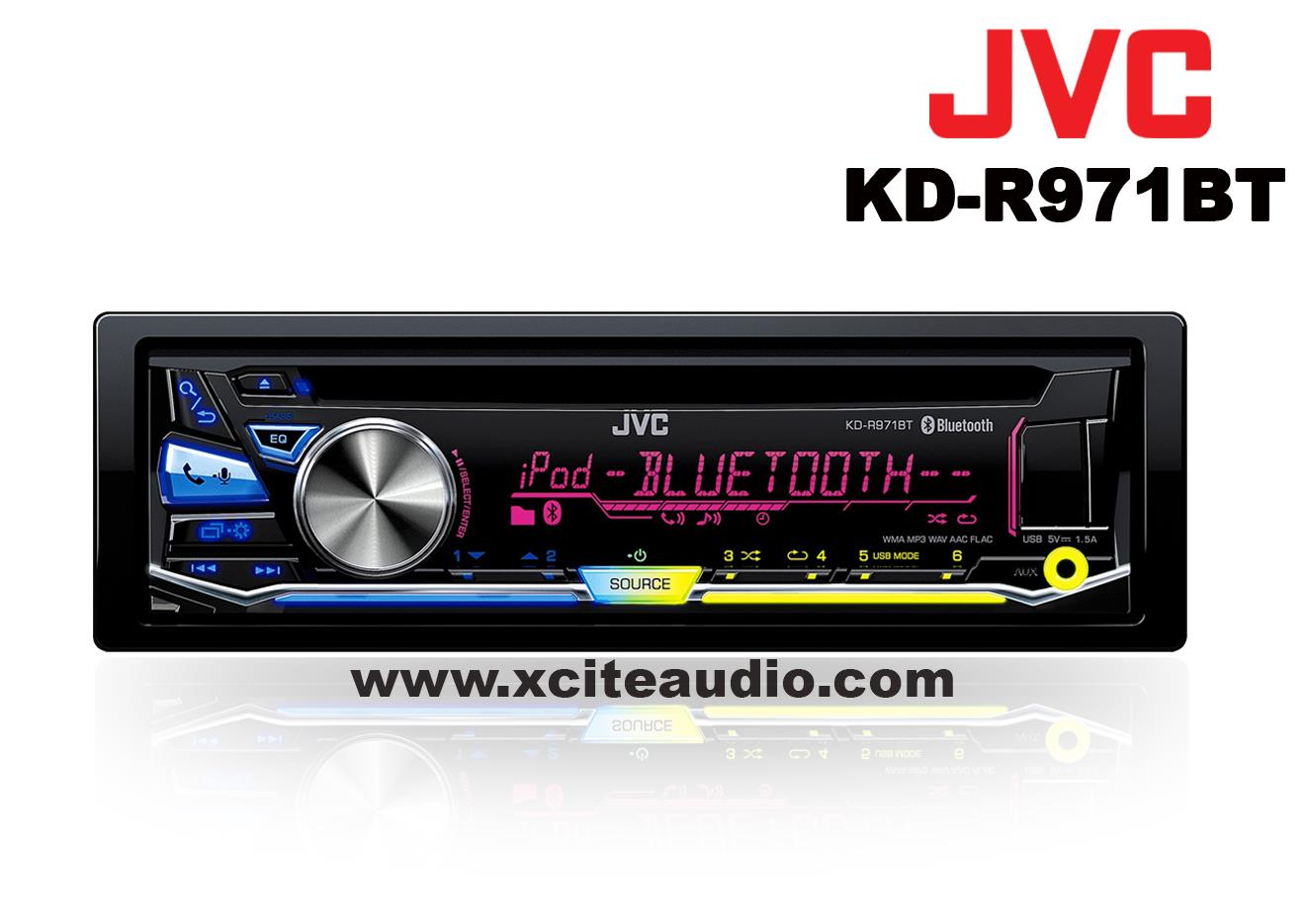 JVC KD-R971BT Single Din CD/Bluetooth/Front USB/Aux-in Front CarPlayer