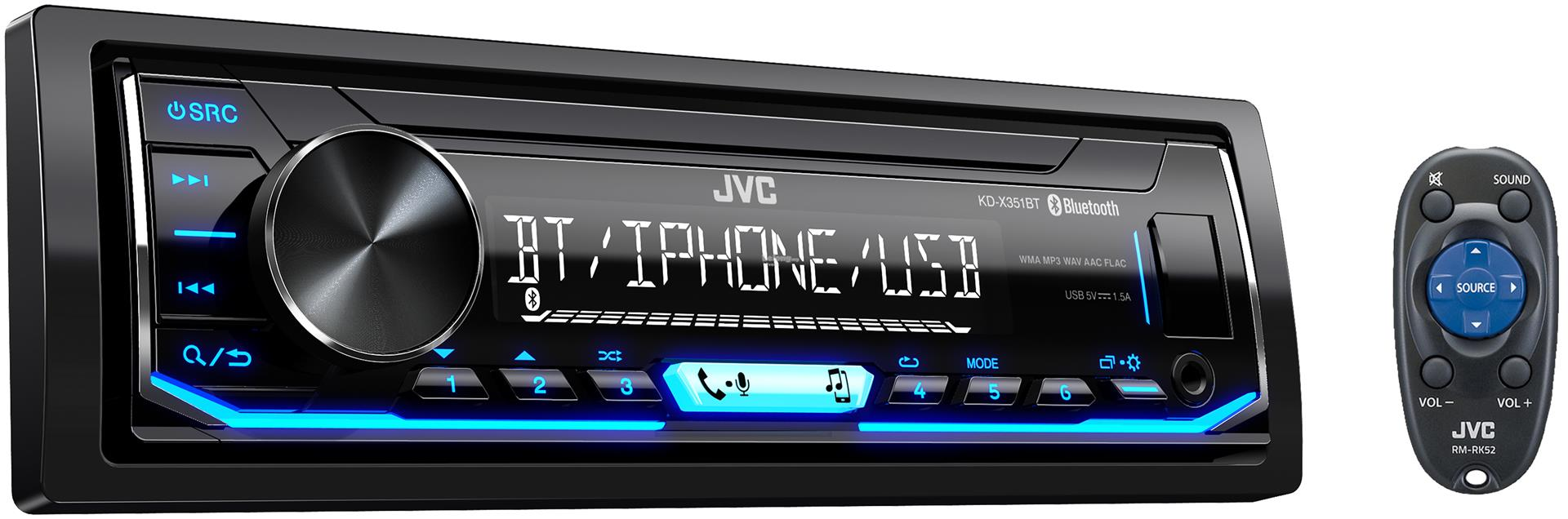 JVC KD-X351BT Single DIN Bluetooth USB Aux Digital Media Stereo No CD