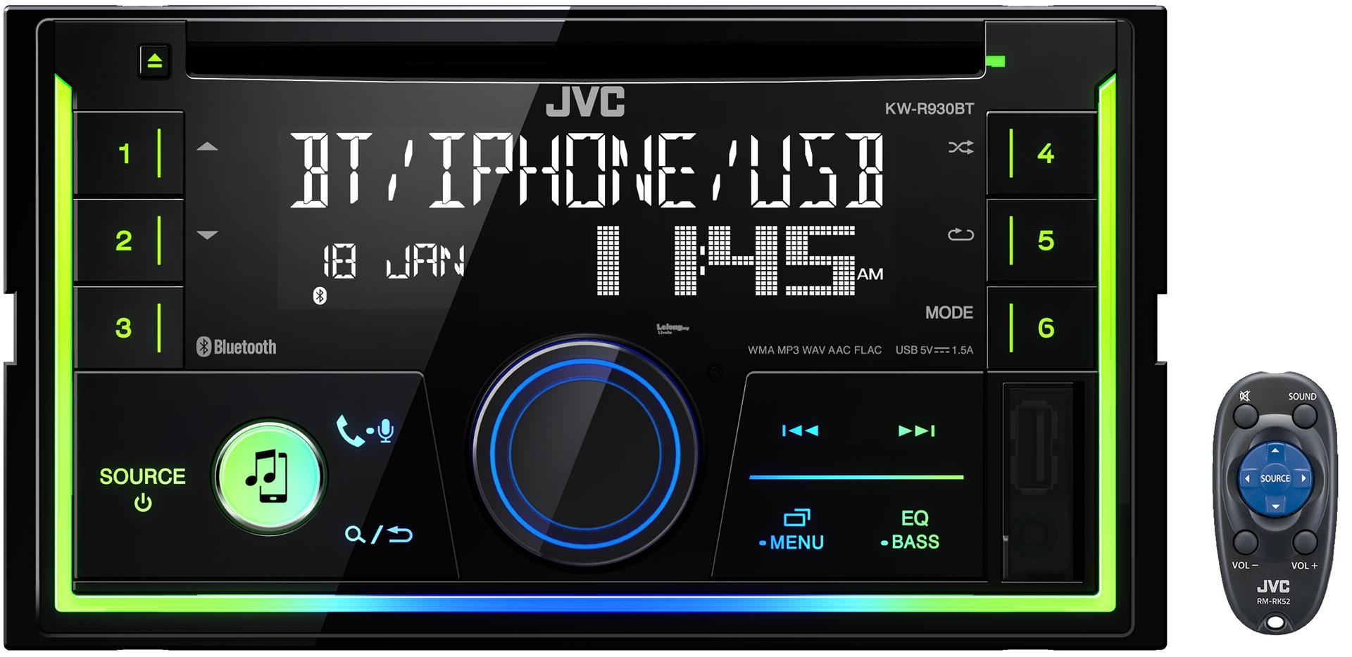 JVC KW-R930BT Double DIN CD Front USB Aux Car Stereo Receiver