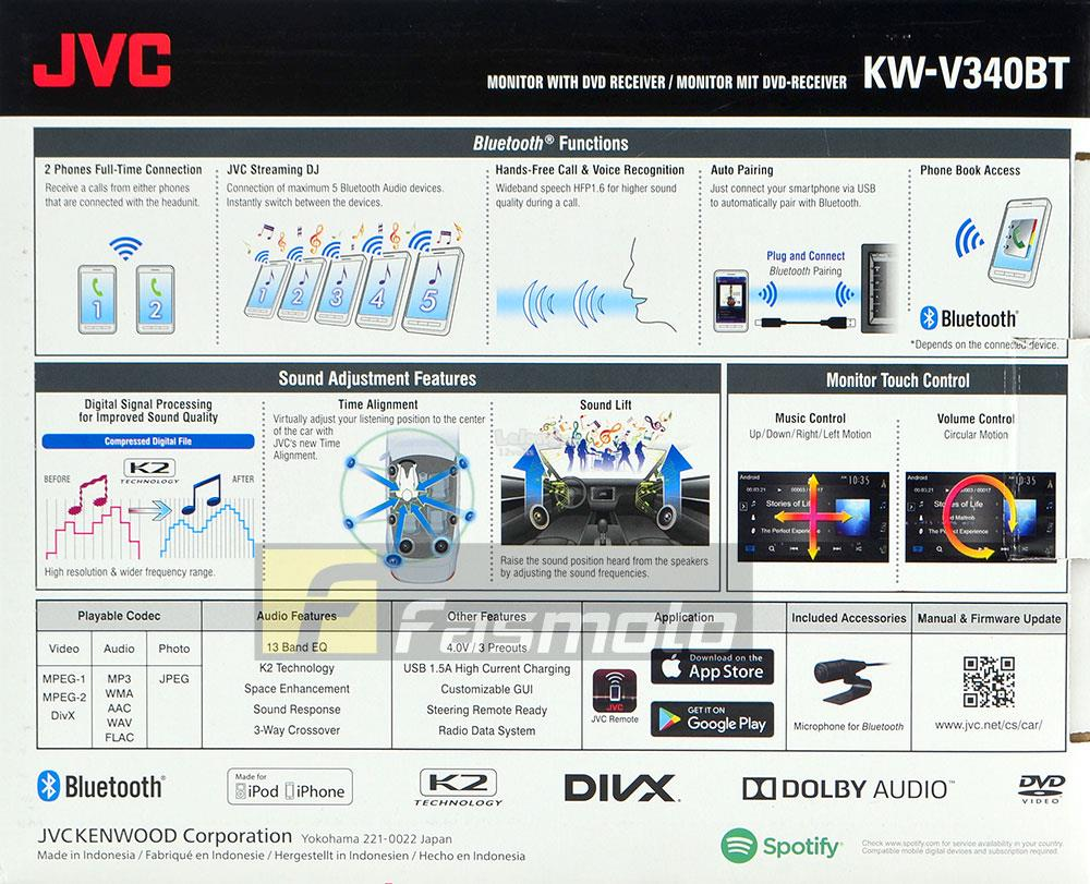 Jvc Kw V340bt 62 Wvga Built In Bl End 11 21 2019 515 Pm 2 Way Switch 12 Volt Bluetooth Spotify Dvd Usb Double Din
