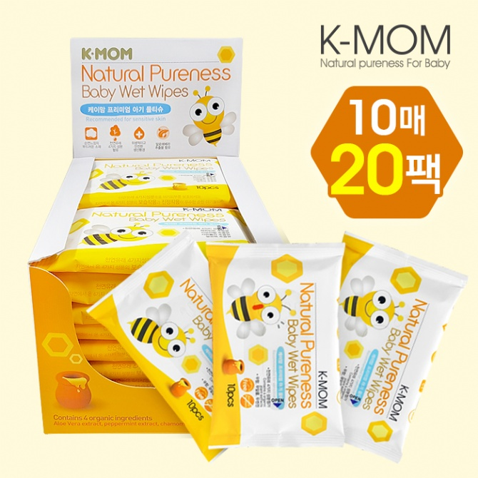 K-Mom Natural Pureness Baby Wet Wipes Bee 10pcs x 20packs