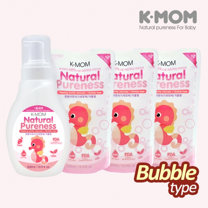 K-Mom USDA Organic Feeding Bottle Cleanser Bubble + Refill X 3