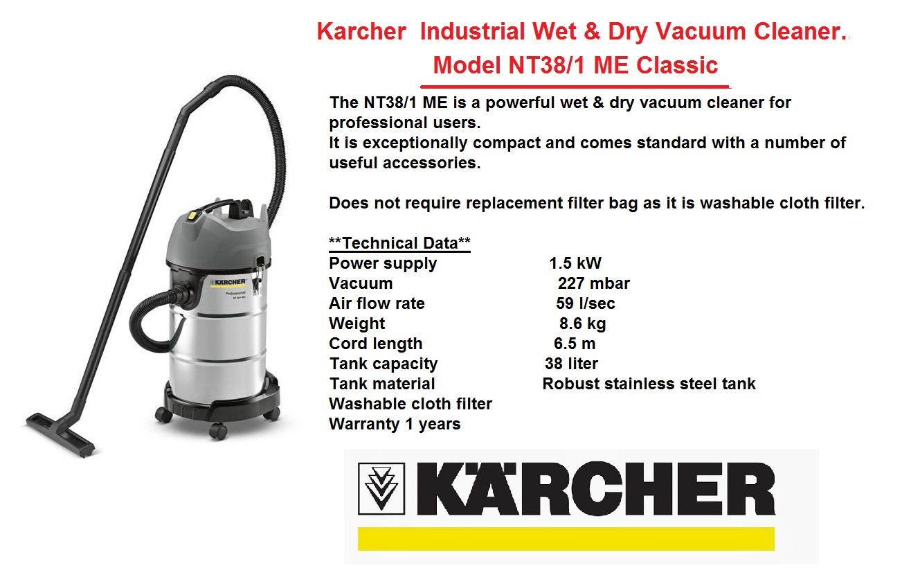 Karcher Industrial Wet Dry Vacuum Cleaner Model NT38 1 ME Classic