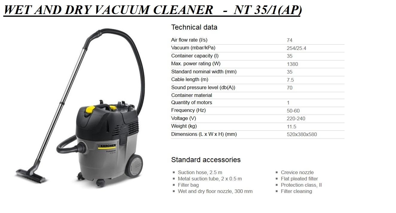 Karcher NT 35 1 AP Eco Wet And Dry Vacuum Cleaner