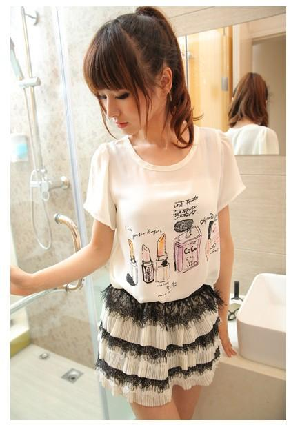Kawaii Chiffon Blouse (White)