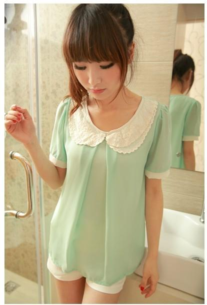 Kawaii Floral Collar Chiffon Blouse-Green 12625