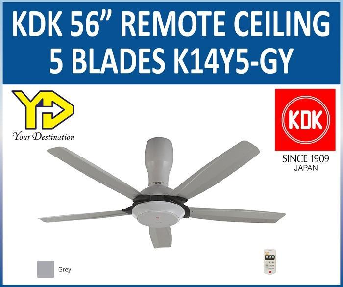 Kdk 56inch Remote Ceiling Fan 5 Blades K14y5 Gy Grey