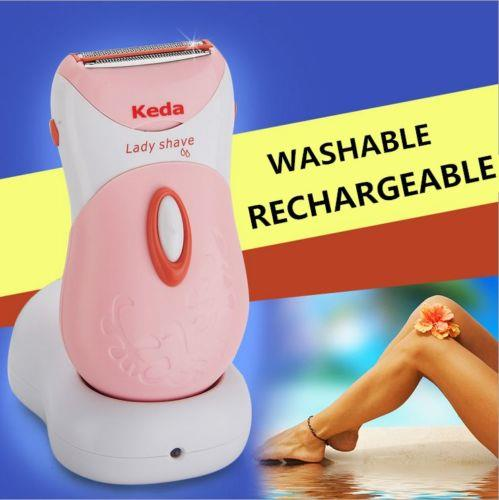 KEDA Rechargeable Washable Woman Shaver Trimmer Hair Removal Wet/Dry