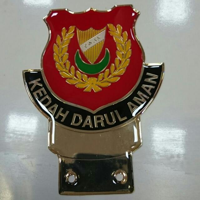 Kedah State Emblem Badge Gold Version for Car Number Plate