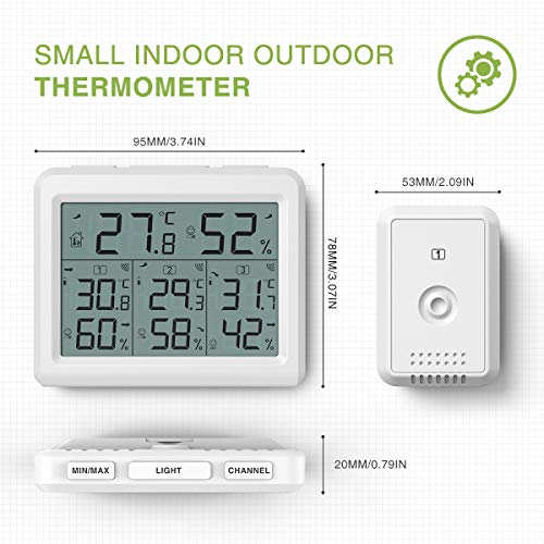 KeeKit Indoor Outdoor Thermometer, Digital Hygrometer Meter Gauge with 3 Wirel