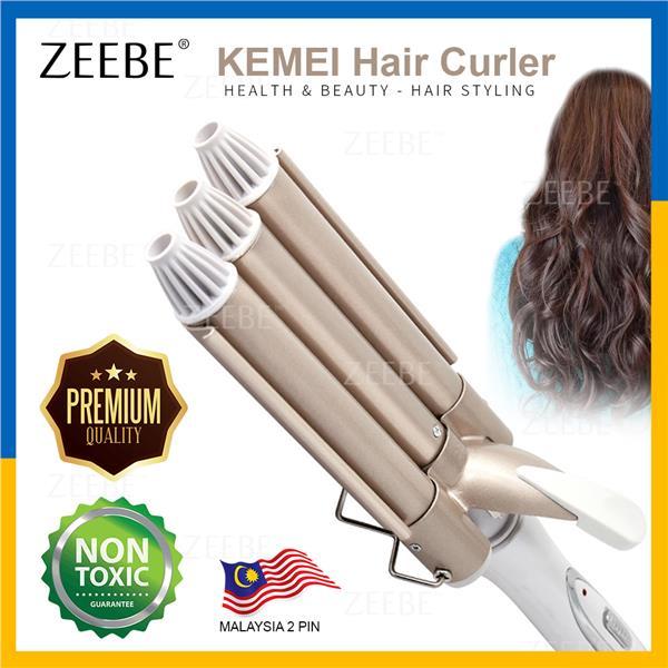 KEMEI 3 Barrels Ceramic Hair Iron Perm Curler Waver Roller KM-1010