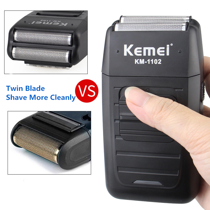 Kemei KM1102 Rechargeable Electric Dual Blades Floating Head Shaver Co