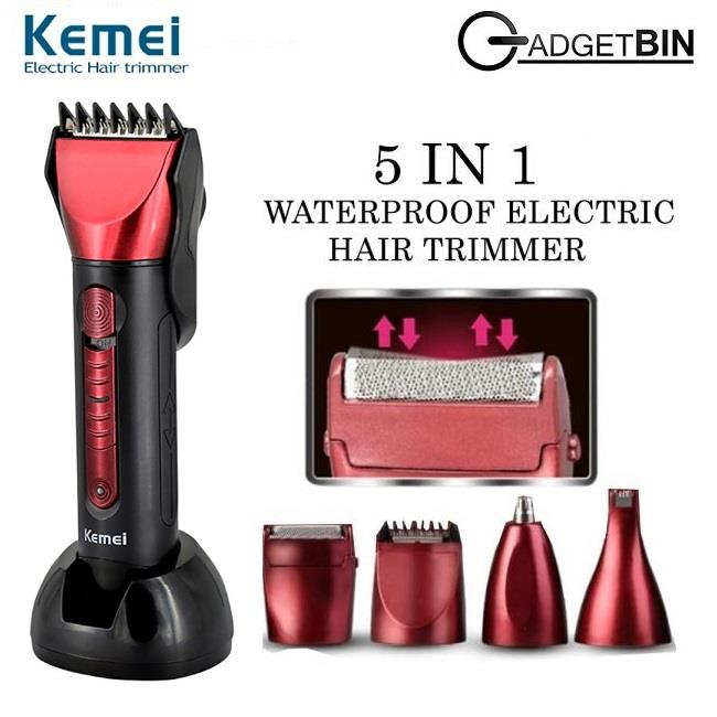 Kemei KM8058 Rechargeable 5 in 1 Cordless Waterproof Electric Hair Bea