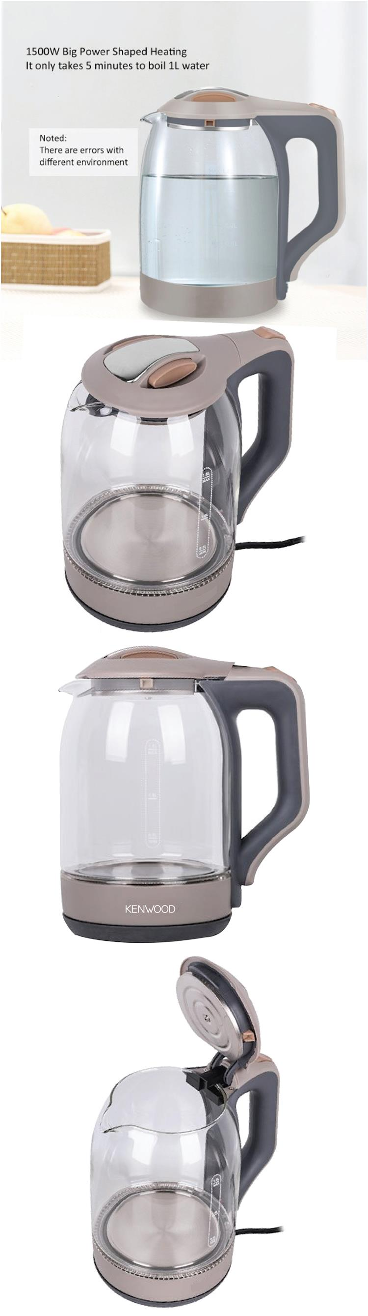 KENWOOD Cordless Electric Glass Jug Kettle LED Light 1850W 2L Home