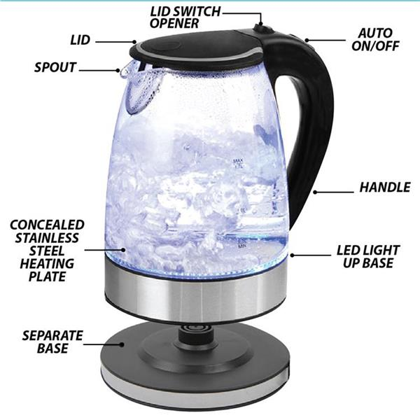 KENWOOD Cordless Electric Glass Jug Kettle LED Light 2000W 2.2L Home