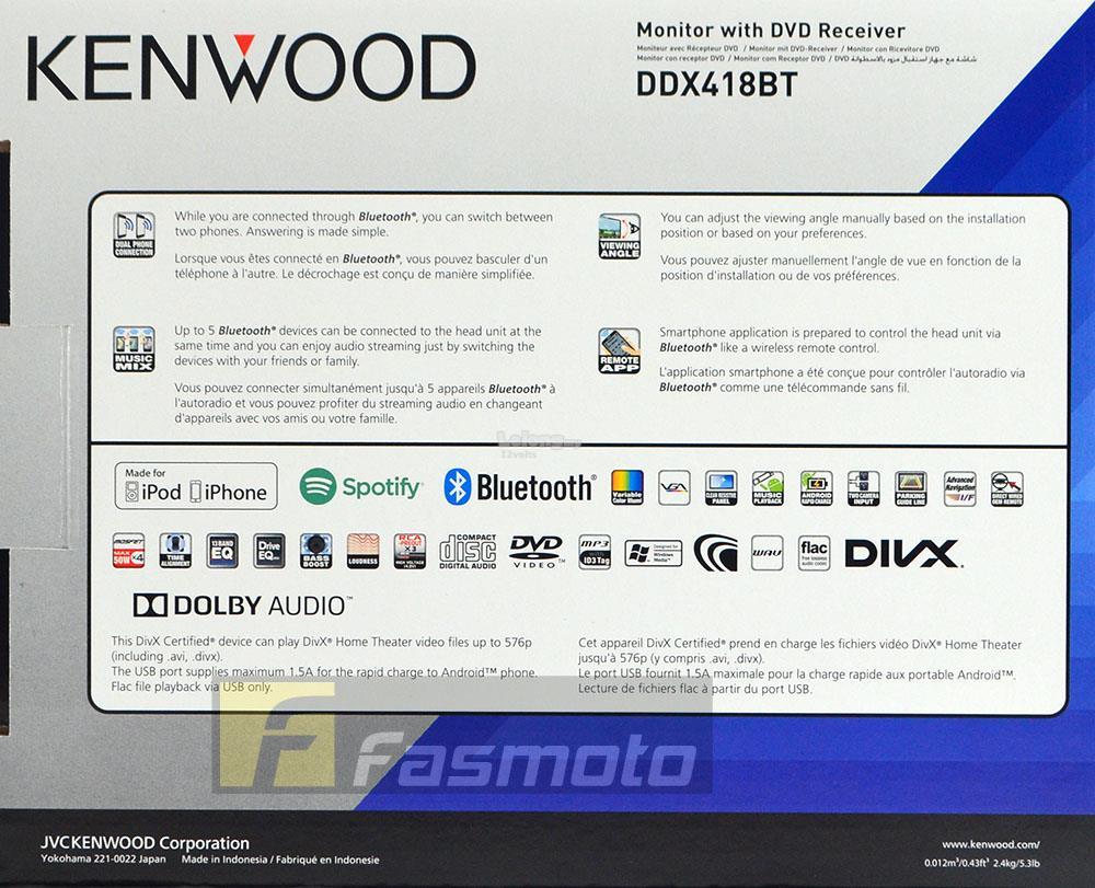 Kenwood DDX418BT 6 2 Double DIN Built in Bluetooth Spotify AV Stereo Receiver