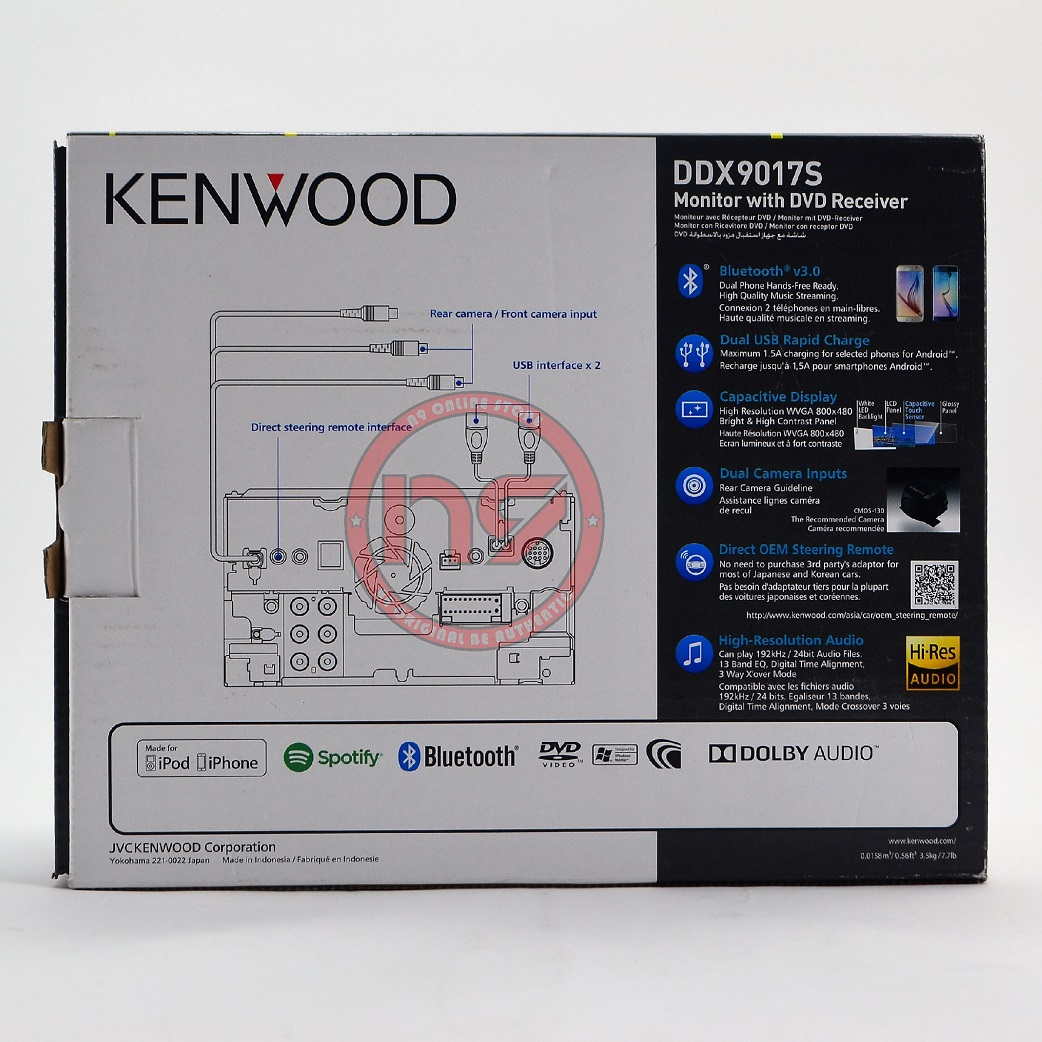 KENWOOD DDX9018S 7' Wifi Apple Carplay Android Auto DVD Double Din Car