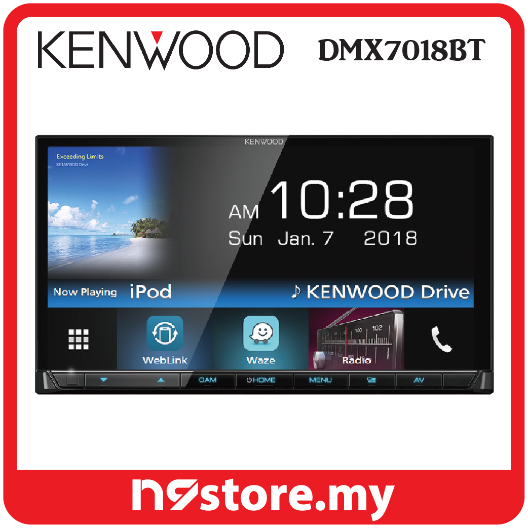 "Kenwood DMX7018BT 7"" Mechless Waze Nav-App Weblink Bluetooth Double DI"