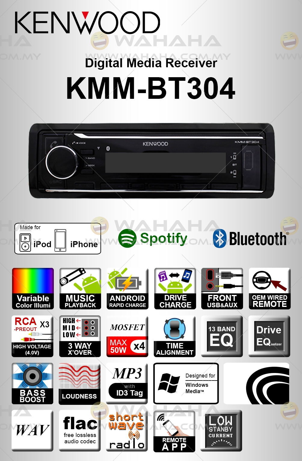 Kenwood KMM-BT304 Single DIN Bluetooth USB Digital Media Car Player