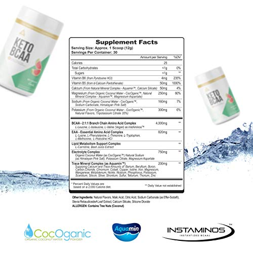 Keto BCAA: with Electrolytes, Trace Minerals, EAAs, B-Vitamins | Keto Support,