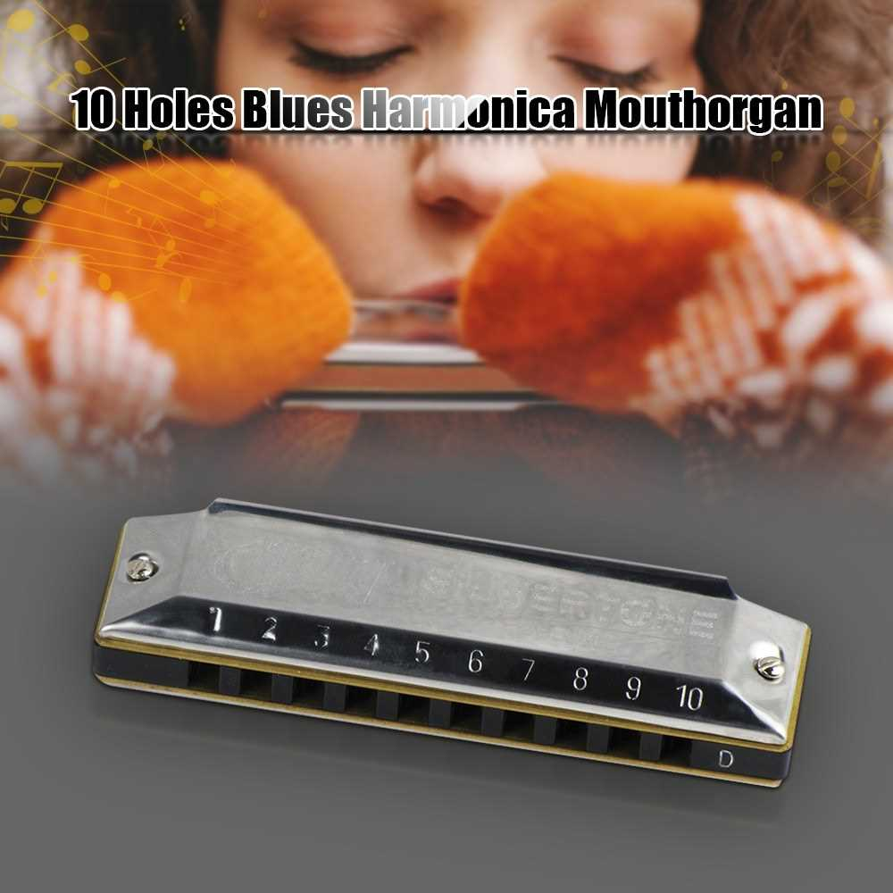 Key of D 10 Holes Blues Harmonica Mouthorgan Copper Harmonicas with