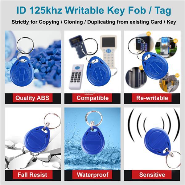 Key fob keychain ID 125khz RFID Writable Copy Clone Duplicating EM5200