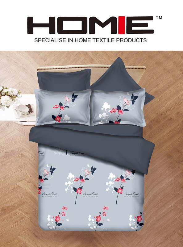 Keyogen Colour Aloe Bedding Set - COMFORTER ALOE FEATHER FLOWER GREY