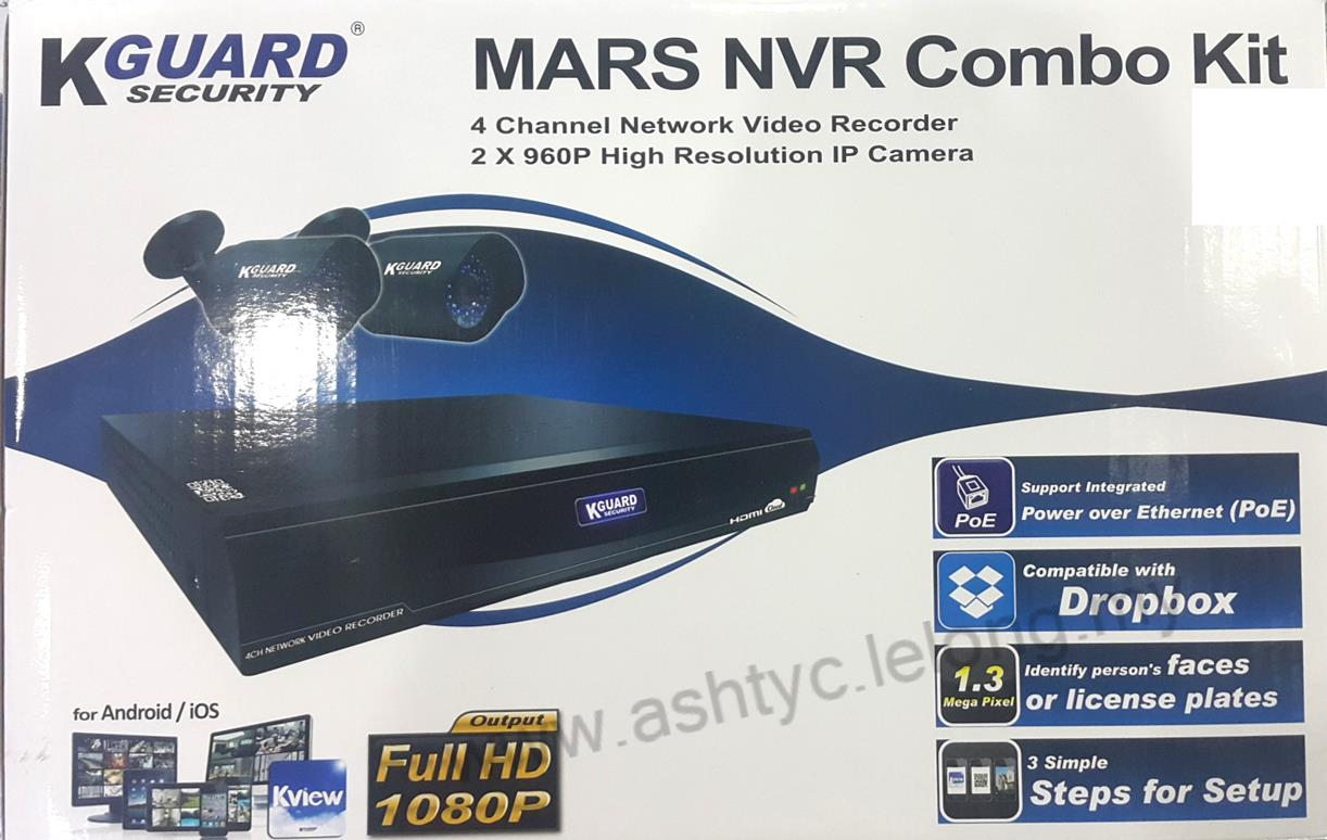 KGUARD MARS NVR COMBO KIT 4 CHANNEL DVR + 2 960P CAMERA (MR-4020)