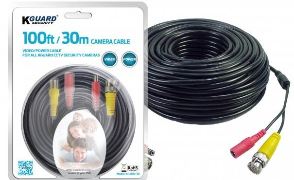 KGUARD VIDEO/POWER CABLE FOR ALL KGUARD CCTV SECURITY CAMERA 100FT
