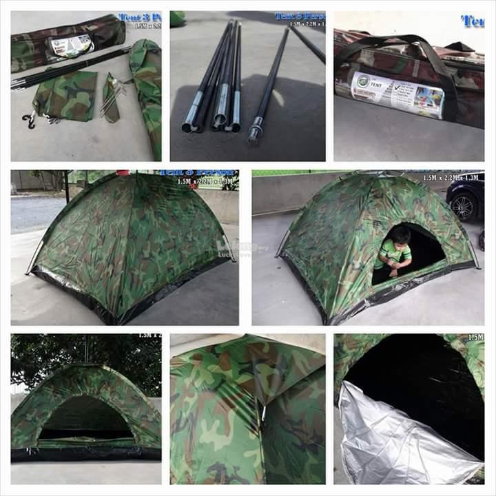 Khemah V8 Camouflage Tent House / Kelambu Nyamuk / With Bag Canopy Beg & Khemah V8 Camouflage Tent House / Ke (end 1/11/2019 2:54 PM)