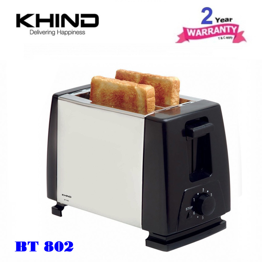 KHIND BT802 Bread Toaster 2 Slide (Stainless Steel) with 6 Browning Se..