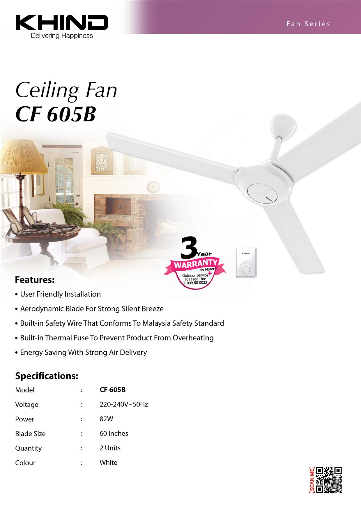 Khind Ceiling Fan CF605B with Energy Saving & Strong Air Delivery