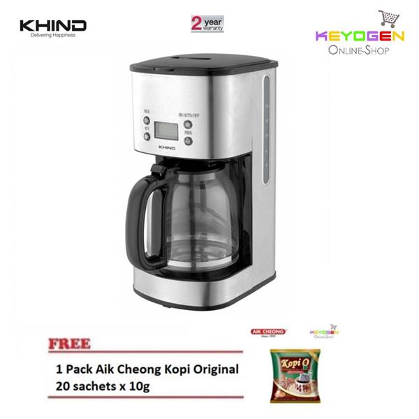 NEW KHIND CM100SS Coffee Maker with LCD DisplayFREE 1 Pack Aik Cheong