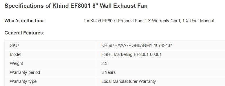 Khind EF8001 8001 Wall Exhaust Fan 8'' 8 inch