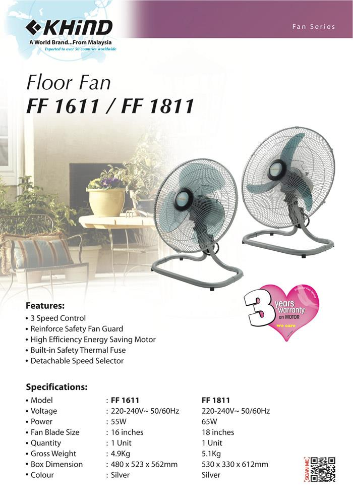 Khind  Floor Fan FF1611 16' High Efficiency Energy Saving Motor