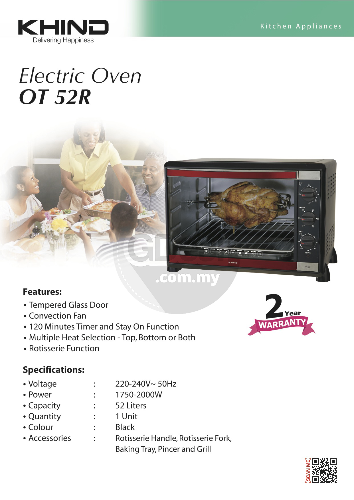 KHIND Oven Toaster 52 Liters with Rotisserie Convection